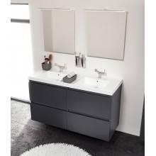 Mobile con lavabo in resina 2 vasche 120 cm Bianco B-Box BATH+
