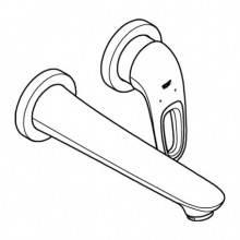 Miscelatore per lavabo a due fori a parete M con leva aperta Moon White Grohe Eurostyle