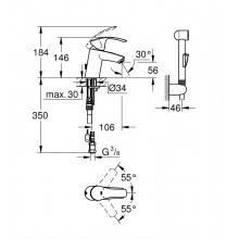 Rubinetto monocomando per lavabo S con kit doccia Grohe Eurosmart