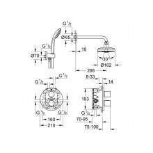 Set doccia termostatico con 4 tipi di getto Grohe Grohtherm 3000 Cosmopolitan