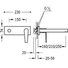 Rubinetteria a muro 21 cm CLASS-TRES
