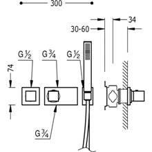 Set doccia termostatico 2 uscite TRES C