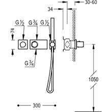 Set doccia termostatico 1 uscita TRES R