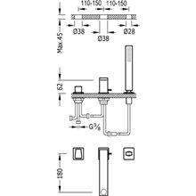 Kit per vasca da bagno CUB TRES SLIM 18 cm