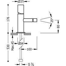 Rubinetto per bidet in acciaio TUB TRES STUDY