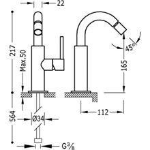 Rubinetto per bidet alto in acciaio TRES STUDY