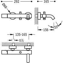 Kit per vasca da bagno - doccia rosso TRES STUDY