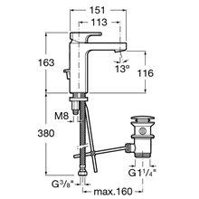 Miscelatore lavabo con salterello L90 Roca
