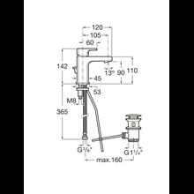 Miscelatore lavabo compatto con salterello L90 Roca