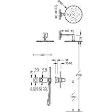 Set doccia termostatico acciaio 2 uscite TRES STUDY