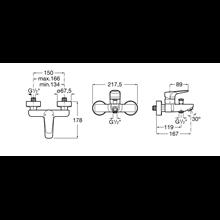 Miscelatore per vasca-doccia esteriore Atlas Roca