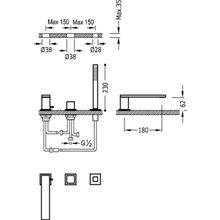 Set per vasca da bagno CUB CUADRO-TRES 18 cm