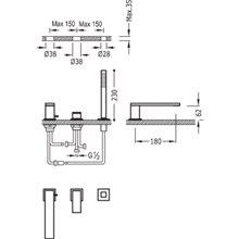 Set per vasca da bagno CUADRO-TRES 18cm