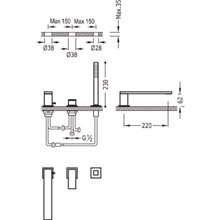 Set per vasca da bagno CUADRO-TRES 22cm