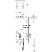 Set doccia termostatico 2 uscite soffitto CUADRO-TRES