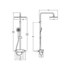 Colonna doccia termostatica Square Deck Roca