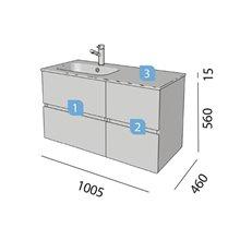 Mobile 60+40 cm 2 cassetti SALGAR FUSSION LINE