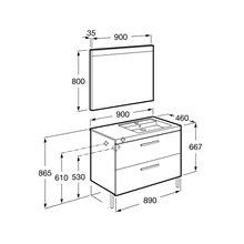 Pack mobile 90cm due cassetti grigio antracite Prisma Roca