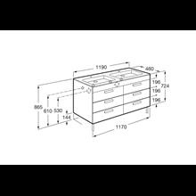 Mobile grigio 120 cm 6 cassetti Debba Roca