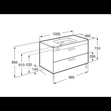 Mobile grigio 100 cm 2 cassetti Debba Roca