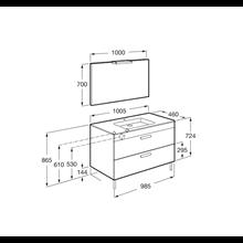 Pack mobile grigio 100 cm 2 cassetti Debba Roca