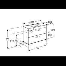 Mobile grigio 80cm compatto 2 cassetti Debba Roca