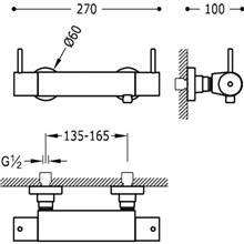 Rubinetto per doccia termostatico bicomando ECO Max-Tres con manopole