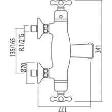 Rubinetto per vasca da bagno e doccia termostatico ECO Monoclasic 1900
