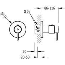 Rubinetto termostatico da incasso rotondo per doccia Compact Tres con leva