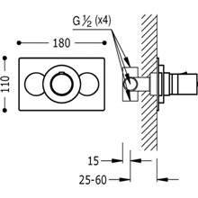 Rubinetto termostatico da incasso per doccia 11 cm x 18 cm Compact Tres