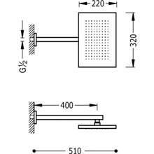 Soffione doccia rettangolare con braccio quadrato a parete TRES