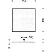 Soffione doccia quadrato 45x45 TRES