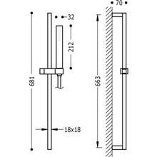 Kit doccia barra scorrevole CUADRO-SLIM TRES