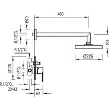Kit doccia monocomando a incasso barra scorrevole BM-TRES