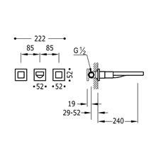 Rubinetteria a muro in acciaio 3 centri 24 cm CUADRO-TRES