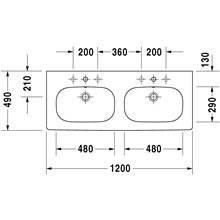 Lavabo doppio per mobile D-Code Duravit