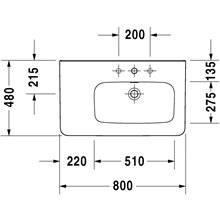 Lavabo asimmetrico dx per mobile 80 troppopieno DuraStyle Duravit