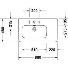 Lavabo asimmetrico sx per mobile 80 troppopieno DuraStyle Duravit