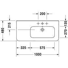 Lavabo asimmetrico dx per mobile 100 troppopieno DuraStyle Duravit