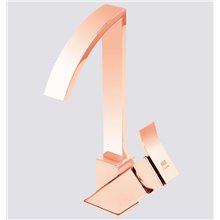 Rubinetto miscelatore per lavabo color oro rosa con becco alto PINTA