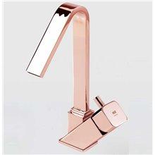 Rubinetto miscelatore con becco alto per lavabo color oro rosa CATRAL