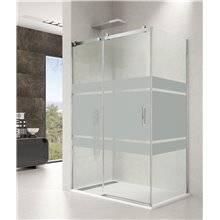 Parete doccia angolare 1 porta scorrevole con serigrafia ROTARY GME