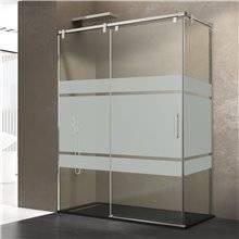 Parete doccia angolare 1 porta scorrevole con serigrafia FUTURA GME