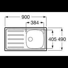 Lavello 90x49 cm gocciolatoio a sinistra J Roca
